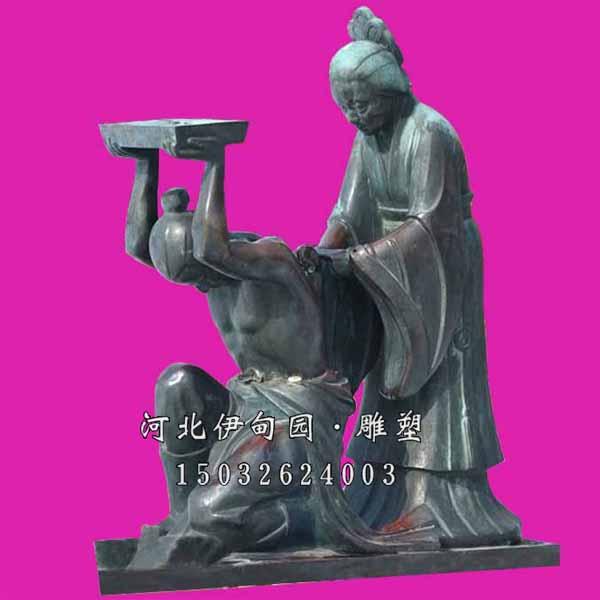岳母刻字雕塑 精忠报国雕像 中国古典故事雕像 铸铜雕塑人物 人物铸